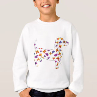 Doxie-Butterfly--White Sweatshirt