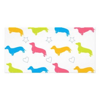 Doxie Colorful Hearts and Stars Photo Card Template