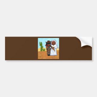 Doxie Cowboy Wedding Bumper Sticker