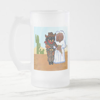 Doxie Cowboy Wedding Frosted Glass Beer Mug