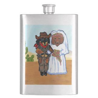 Doxie Cowboy Wedding Hip Flask