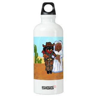 Doxie Cowboy Wedding Water Bottle