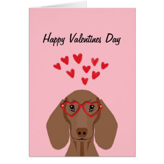 Doxie Dachshund Valentines Love Card - red