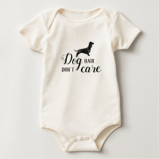 Doxie dog hair don't care funny baby bodysuit