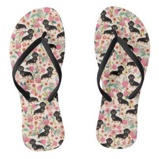 Doxie Floral shoes - dog florals Flip Flops
