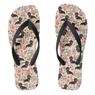 Doxie Florals Flip Flops - black and tan doxie