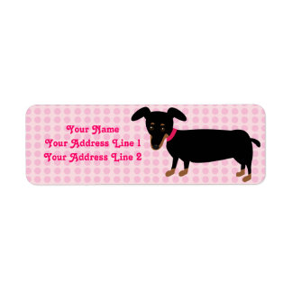 Doxie Girl with Pink Dots Background Return Address Label