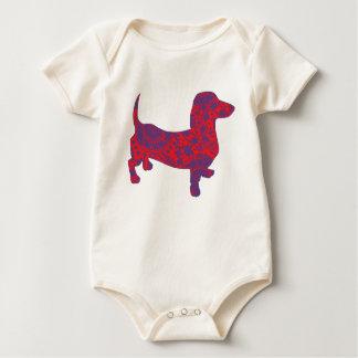 Doxie in Reniassance-Pattern Baby Bodysuit