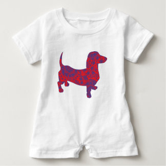 Doxie in Reniassance-Pattern Baby Romper