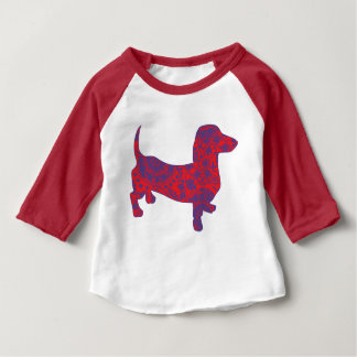 Doxie in Reniassance-Pattern Baby T-Shirt
