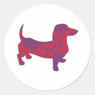 Doxie in Reniassance-Pattern Classic Round Sticker