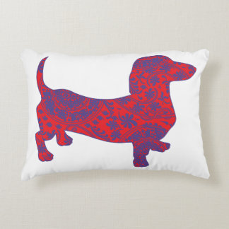 Doxie in Reniassance-Pattern Decorative Pillow