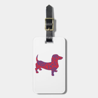 Doxie in Reniassance-Pattern Luggage Tag