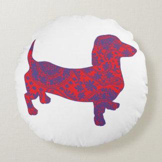 Doxie in Reniassance-Pattern Round Pillow