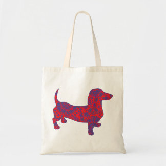 Doxie in Reniassance-Pattern Tote Bag