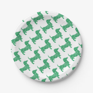 Doxie-in-Shamrocks Paper Plate