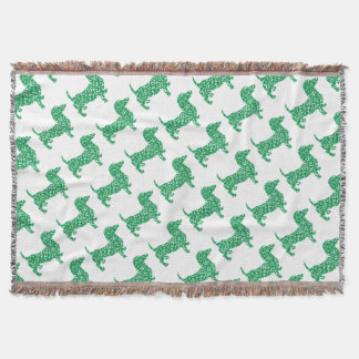 Doxie-in-Shamrocks Throw Blanket