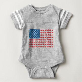 Doxie-USA-FLAG-for-Darks Baby Bodysuit