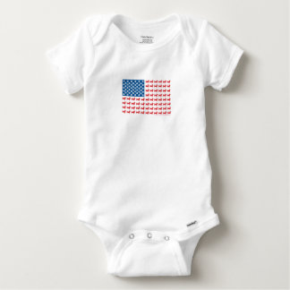 Doxie-USA-FLAG-for-Darks Baby Onesie