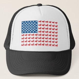 Doxie-USA-FLAG-for-Darks Trucker Hat