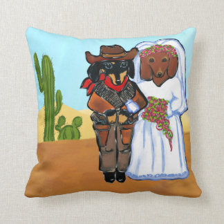 Doxie Wedding Throw Pillow