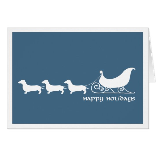 Doxies Pulling Santa's Sleigh Greeting Card