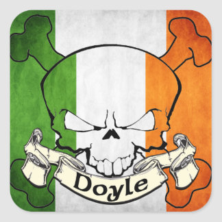 Doyle Irish Skull Square Sticker