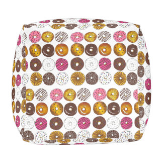 Dozen Donuts Breakfast Doughnut Junk Food Print Pouf