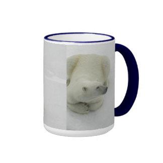 Dozing /waking Polar Bear Ringer Mug