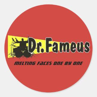 dr.fameus photoshoped plain, melting faces one ... classic round sticker