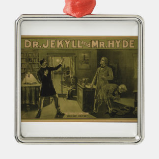 Dr. Jekyll and Mr. Hyde Theatrical Poster 1880 Silver-Colored Square Ornament
