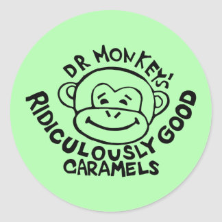 Dr. Monkey Round Stickers