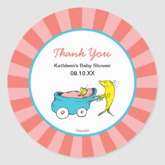 Dr. Seuss | One Fish - Girl Baby Shower Thank You Round Sticker