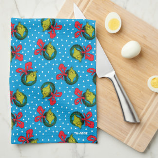 Dr Seuss | The Grinch | Christmas Wreath Pattern Kitchen Towel
