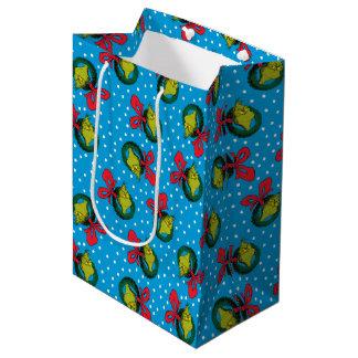 Dr Seuss   The Grinch   Christmas Wreath Pattern Medium Gift Bag