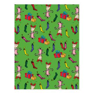 Dr Seuss | The Grinch | Cindy Lou Who Pattern Postcard
