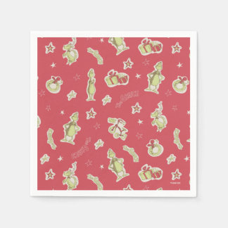 Dr Seuss | The Grinch | Red Christmas Pattern Napkin