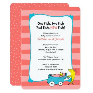 Dr. Seuss | un poisson - baby shower de fille Carton D'invitation 12,7 Cm X 17,78 Cm
