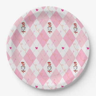 Dr. Seuss Valentine   Pink Argyle Cat in the Hat Paper Plate