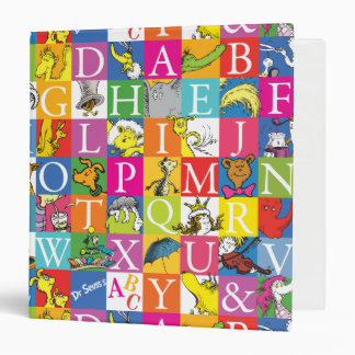 Dr. Seuss's ABC Colorful Block Letter Pattern 3 Ring Binders