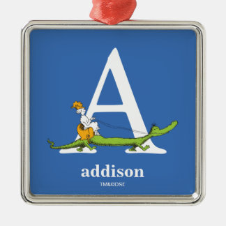 Dr. Seuss's ABC: Letter A - White | Add Your Name Silver-Colored Square Ornament