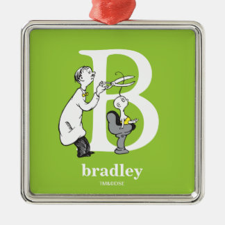 Dr. Seuss's ABC: Letter B - White | Add Your Name Silver-Colored Square Ornament