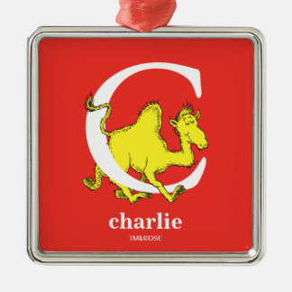 Dr. Seuss's ABC: Letter C - White | Add Your Name Silver-Colored Square Ornament