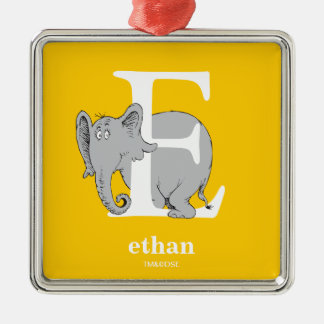 Dr. Seuss's ABC: Letter E - White | Add Your Name Metal Ornament