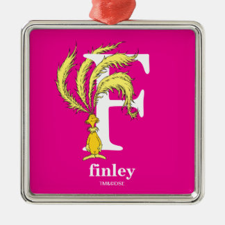 Dr. Seuss's ABC: Letter F - White | Add Your Name Silver-Colored Square Ornament