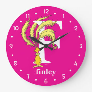 Dr. Seuss's ABC: Letter F - White | Add Your Name Wall Clock