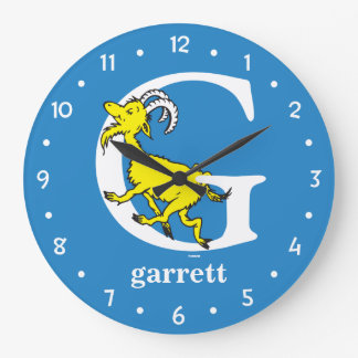 Dr. Seuss's ABC: Letter G - White | Add Your Name Large Clock