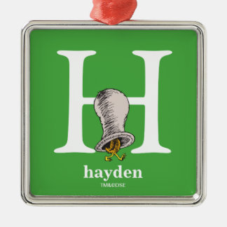 Dr. Seuss's ABC: Letter H - White | Add Your Name Metal Ornament