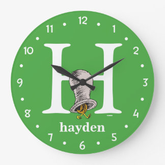 Dr. Seuss's ABC: Letter H - White | Add Your Name Wall Clock