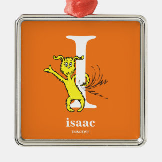 Dr. Seuss's ABC: Letter I - White | Add Your Name Metal Ornament